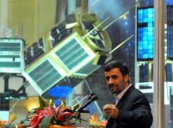 Iranian President Mahmoud Ahmadinejad and satellite