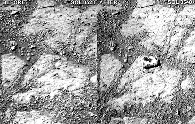Comparison of two raw Pancam photographs from sols 3528 and 3540 clearly shows the mystery rock.