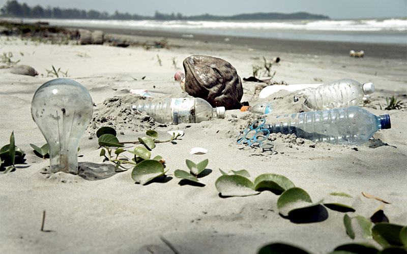 Plastic bottles on this beach. Some rights reserved by epSos.de