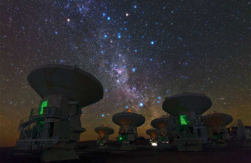 The Southern Milky Way Above ALMA Ambassador Babak Tafreshi snapped this remarkable image of the antennas of the Atacama Large Millimeter/submillimeter Array (ALMA), set against the splendour of the Milky Way. The richness of the sky in this picture attests to the unsurpassed conditions for astronomy on the 5000-metre-high Chajnantor plateau in Chile's Atacama region
